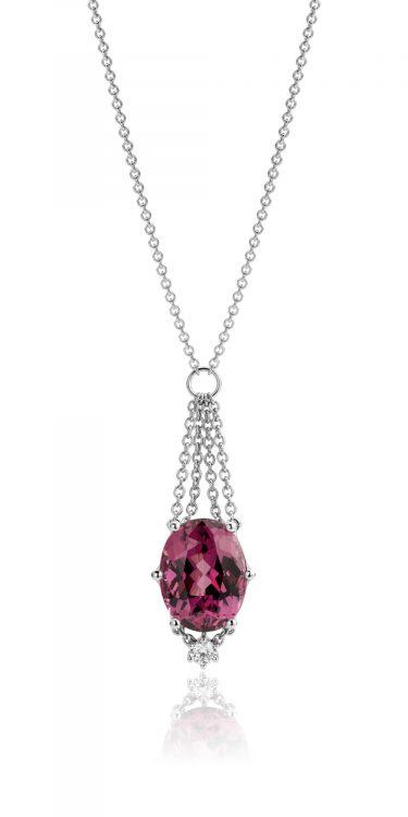 Collier uitgevoerd in platina met rhodoliet en diamant uit de collectie Love for Details van Hester Vonk Noordegraaf