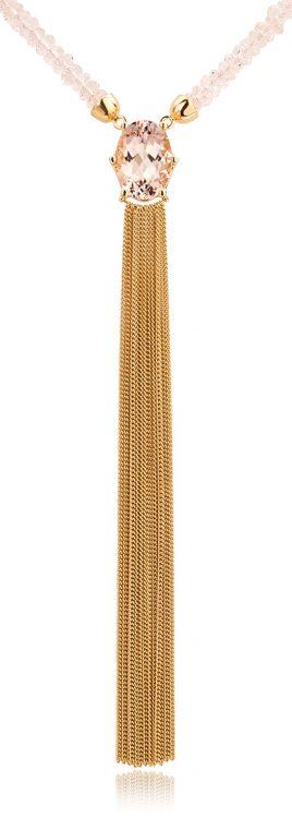 Collier uitgevoerd in 18 karaat geelgoud met morganiet uit de collectie Sense of Expression van Hester Vonk Noordegraaf