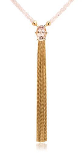 Collier met morganiet gemaakt van 18 karaat geelgoud uit de serie Sense of Expression van Hester Vonk Noordegraaf