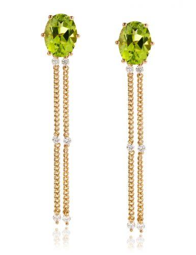 Oorbellen met peridot en diamant gemaakt van 18 karaat geelgoud diamant uit de serie Sense of Expression van Hester Vonk Noordegraaf