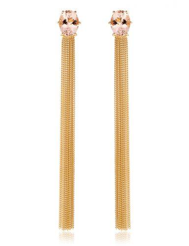 Oorbellen met morganiet gemaakt van 18 karaat geelgoud uit de serie Sense of Expression van Hester Vonk Noordegraaf