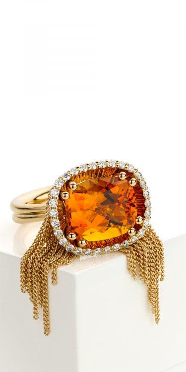 18 karaat geelgouden ring met citrien en diamant uit de Sense of Expression collectie van Hester Vonk Noordegraaf