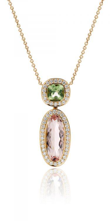 18 karaat geelgouden collier met morganiet, peridot en diamant uit de Soft Elegance collectie van Hester Vonk Noordegraaf