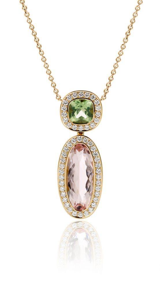 Collier uitgevoerd in 18 karaat geelgoud met morganiet, peridot en diamant uit de collectie Soft Elegance van Hester Vonk Noordegraaf