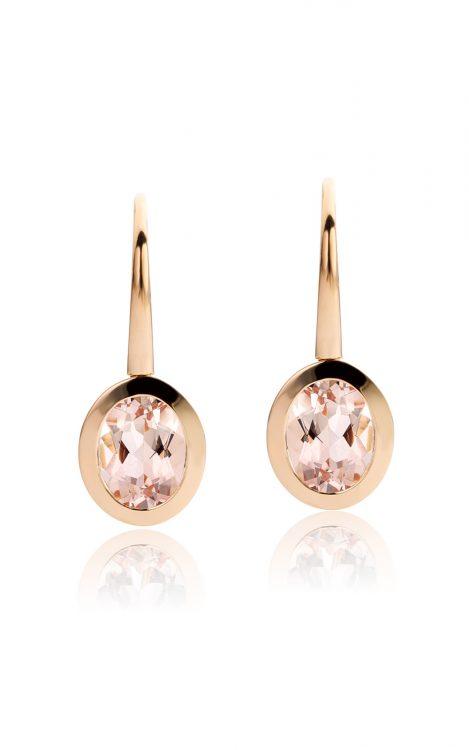 18 karaat roségouden oorbellen met morganiet uit de Soft Elegance collectie van Hester Vonk Noordegraaf