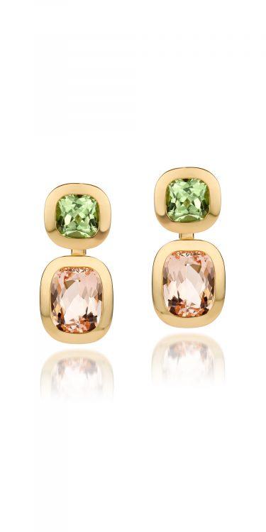 18 karaat geelgouden oorbellen met morganiet en mint peridot uit de Soft Elegance collectie van Hester Vonk Noordegraaf