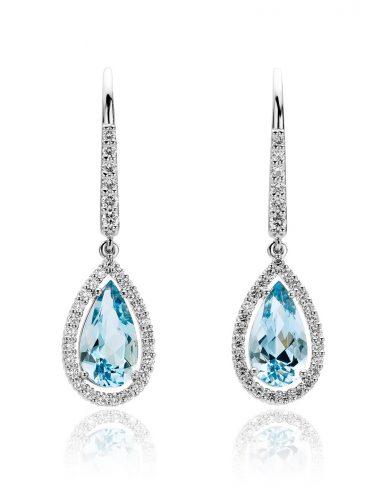 Platina oorbellen met aquamarijn en diamant uit de collectie Unexpected Sparkle van Hester Vonk Noordegraaf